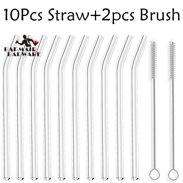 "10Pcs Glass Straws Clear Bent 18cm"" x 8 mm – Perfect Reusable Straw For Smoothies, Tea, Juice –10 Pack With 2Pcs Cleaning Brush"
