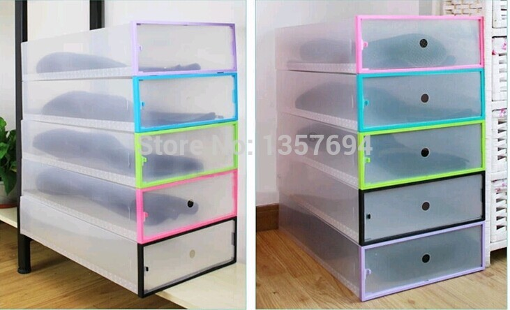 1pcs/lot Simple Folding Drawer Clear Shoe Storage Box Big Transparent  Plastic Color Border Stackable Foldable Holder Long Boots In Storage Boxes  U0026 Bins From ...