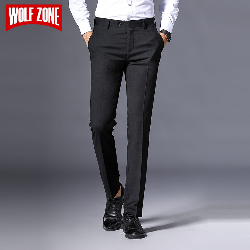 WOLF ZONE Brand Men Pants Casual High Quality Classics Fashion Male Trousers Black Business Formal Full Length Mens Pants