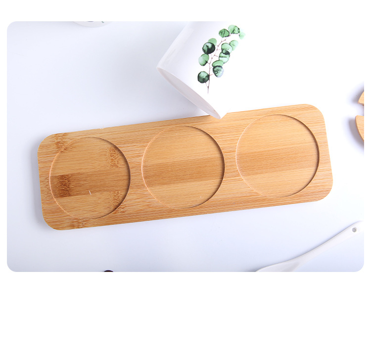 3pcs Ceramic Cruet Set Nordic Creative Home Green Planting Pot with Wooden Mats and Spoon Home Ceramic Kitchen Supplies in Gravy Boats from Home Garden