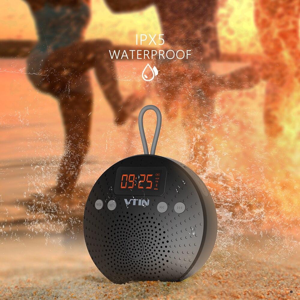 цена на VTIN Waterproof Bluetooth Speaker Wireless 5W Audio FM radio Alarm Handsfree calling ABS Speaker bass for bluetooth device