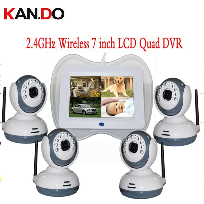 QUAD display 2.4GHz Wireless 7 LCD Baby Monitor DVR + 4pcs 9 IR LED CCTV Camera ok SD Card Video Recording wireless cctv camera