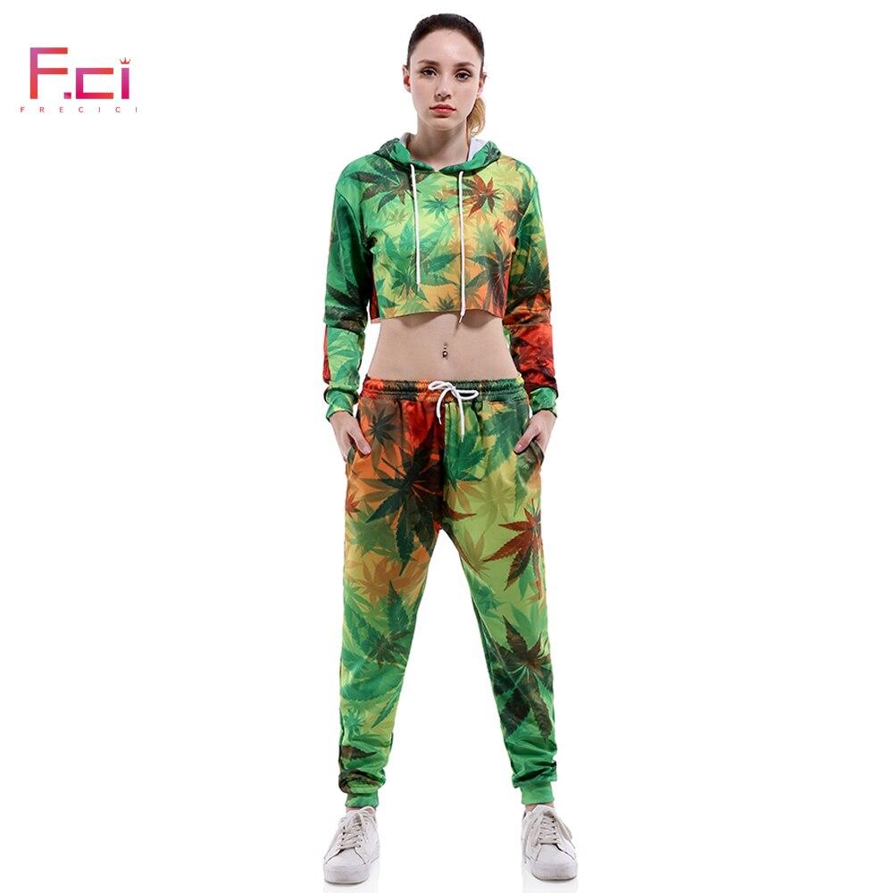 Numérique imprimé feuille femmes sweat à capuche avec pantalon à manches longues sweats à capuche ensemble pull cordon survêtement ensemble