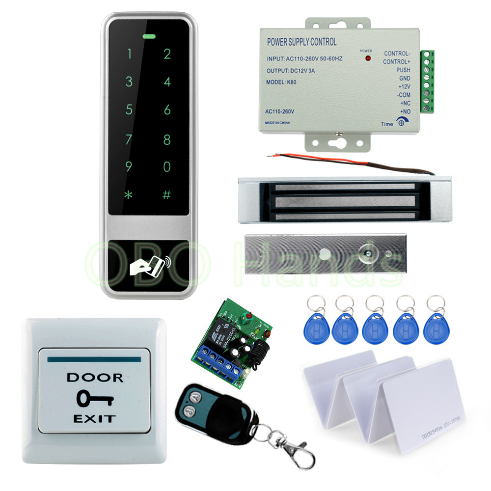 RFID full access kit set metal touch keypad controller+180KG EM lock+12V power supply+door switch+wireless remote controller+key lpsecurity 125khz id em or 13 56mhz rfid metal door lock access controller with digital backlit keypad ip65 waterproof