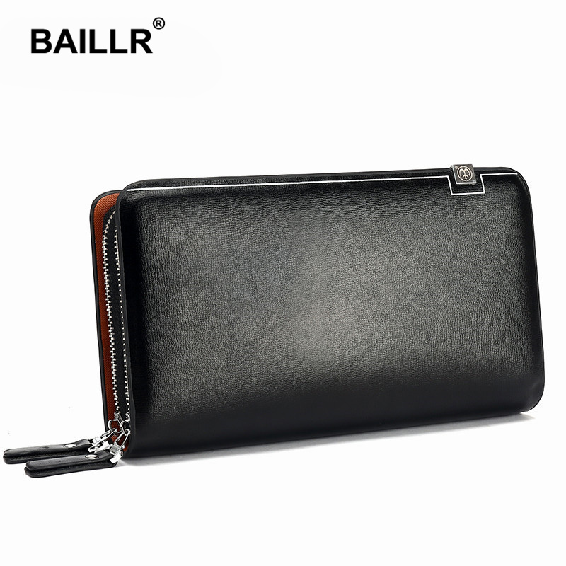 BAILLR Brand Men font b Wallet b font Purse PU Leather Bag Men Handy Double Zipper