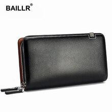 BAILLR Brand Men Wallet Purse PU Leather Bag Men Handy Double Zipper Wallet Male Clutch Bag Male Wallets
