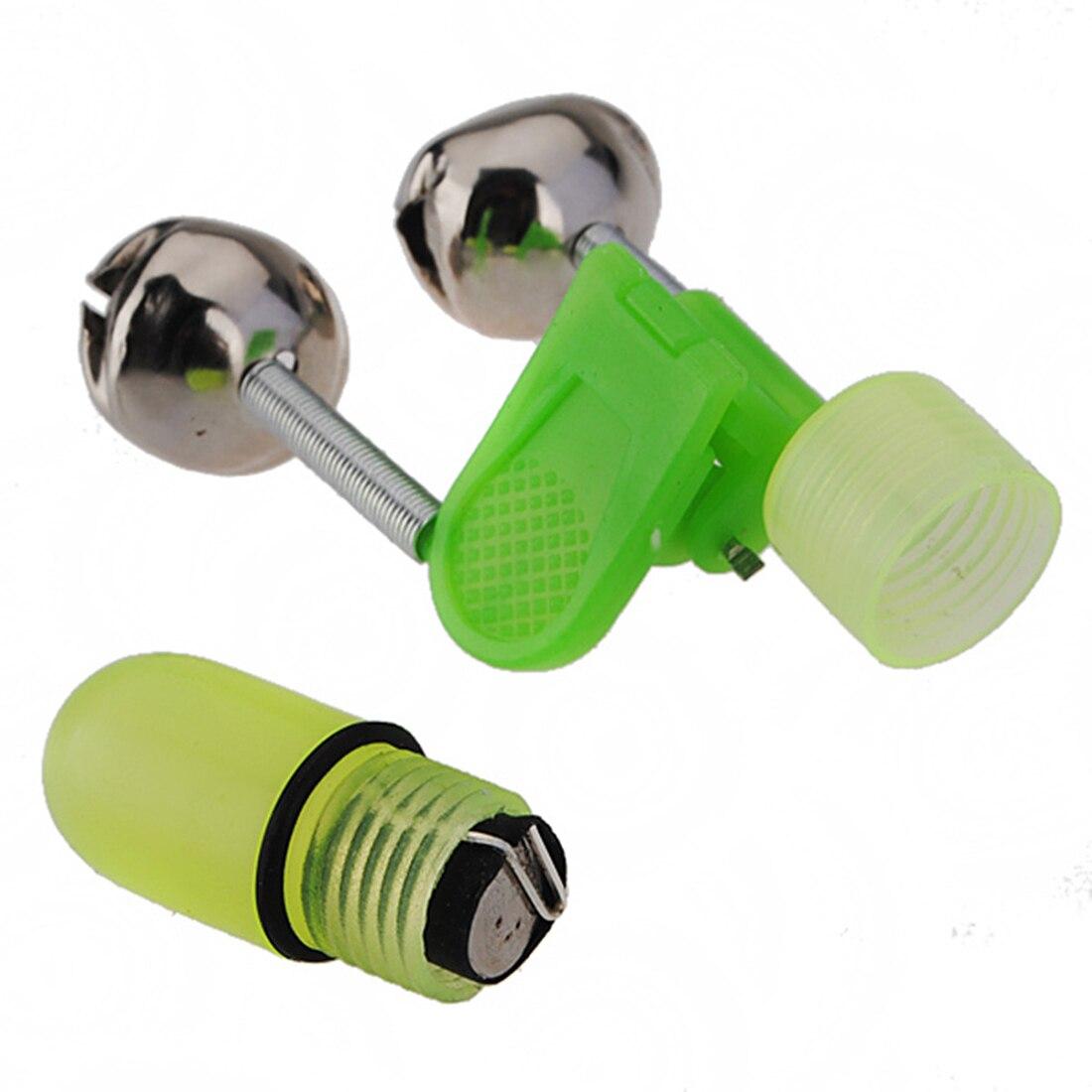 5x Lake Sea Fishing Rod Tip Bite Bell LED Light Indicator Clip Night Alarm Tool yellow-green