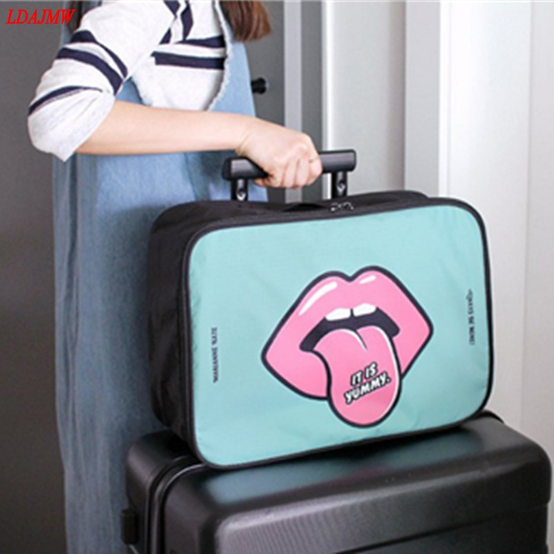 LDAJMW Hot Korean Cute Large-capacity Portable Toiletry Cosmetic Bag Waterproof Makeup Wash Organizer Storage Pouch Travel Kit