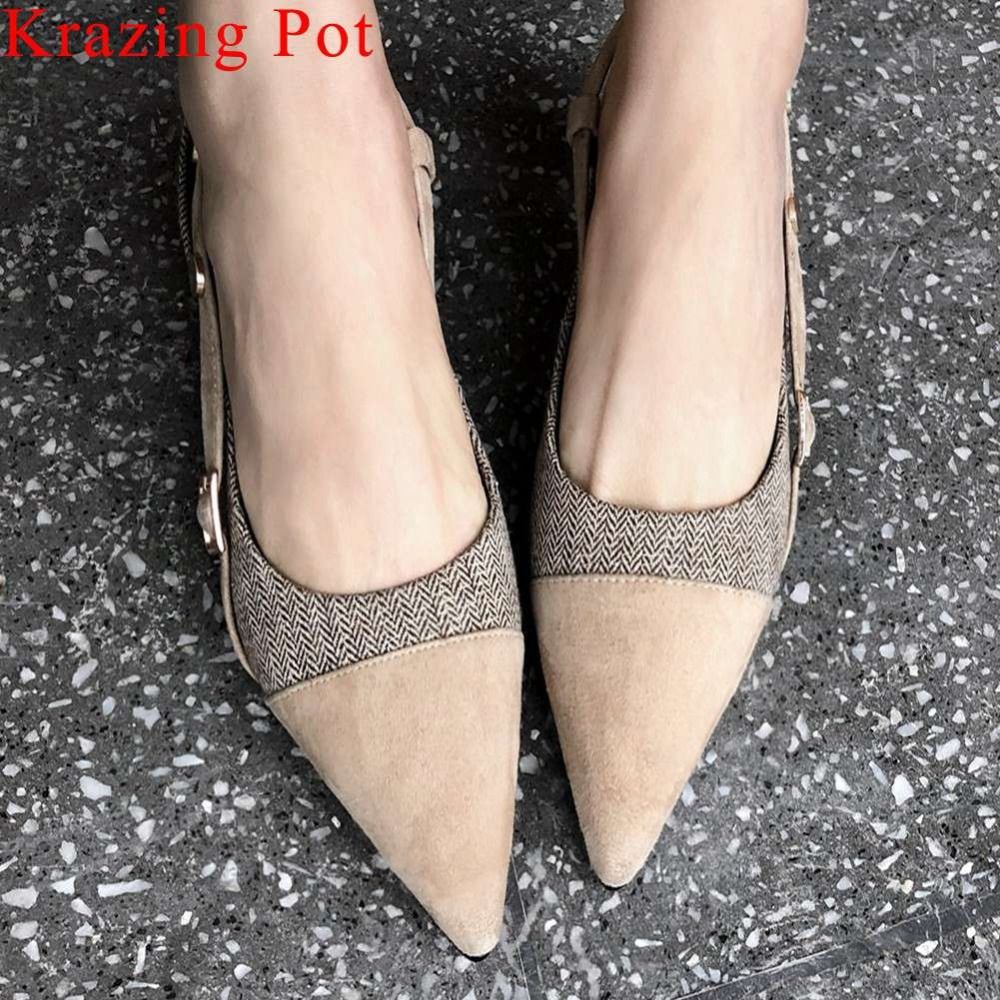 2019 Brititish style natural leather patchwork block med heels slingback rivets mixed colors party dating slip