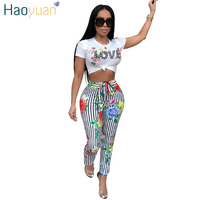 HAOYUAN Two Piece Set Women Love Print Casual Tracksuit Short Sleeve Tops And Pants Matching Suits