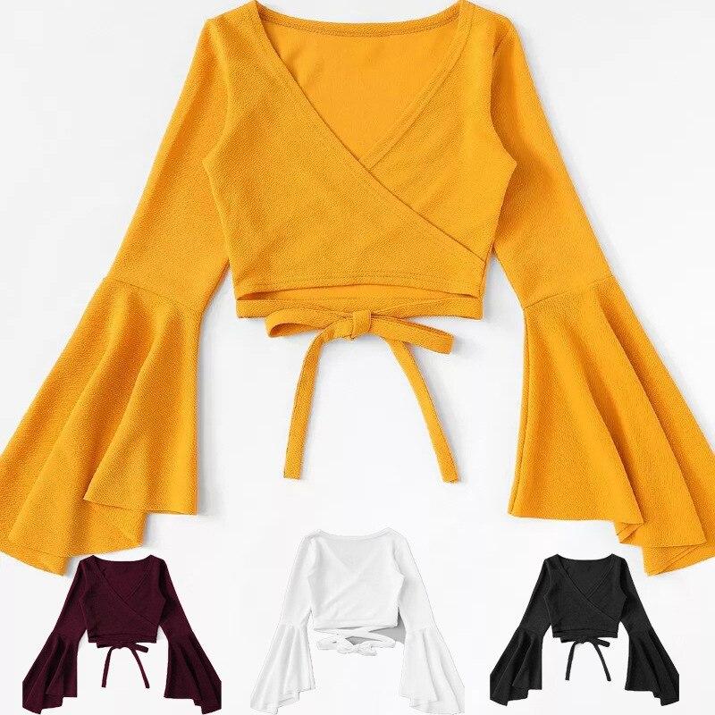 White Top Yellow Crop Top T Shirt Tank Women Tshirt Femm Bandage Ropa Long Sleeve Sexy Casual Camiseta Mujer Tee Black Crop Top