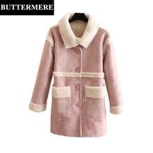 BUTTERMERE Women Leather Suede Coat Pink Parka Winter Long Plus Size 4XL Jacket Berber Fleece Buttons Outerwear For Women