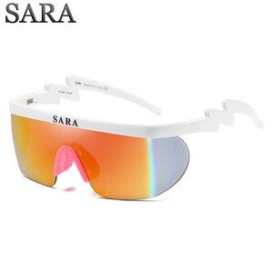 سارة outdoor الرياضة يندبروف نظارات شمسية الرجل طلاء مرآة عاكسة كبيرة تحيط النظارات مع عدم الانزلاق الأنف حملق ce