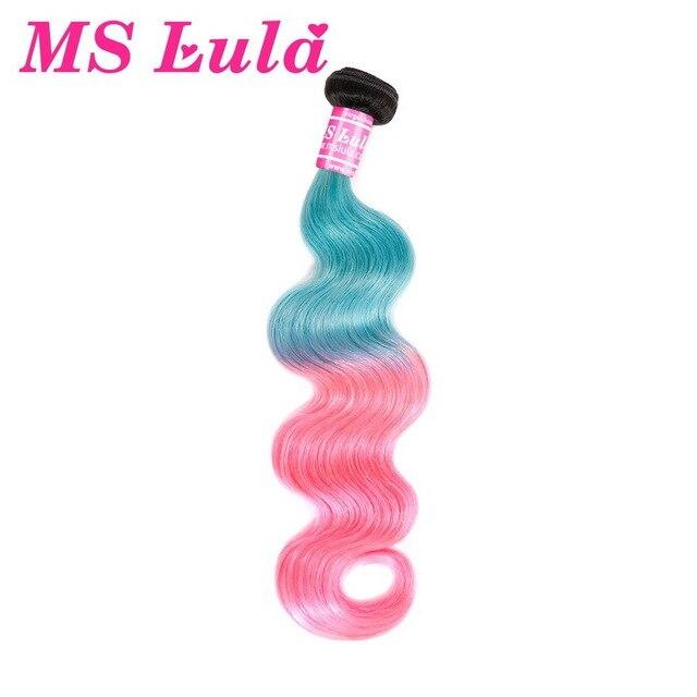 Ms lula волосы бразильские объемные волны Омбре розовые и синие цветные волосы переплетения для черных женщин remy волосы с темными корнями Бесплатная доставка