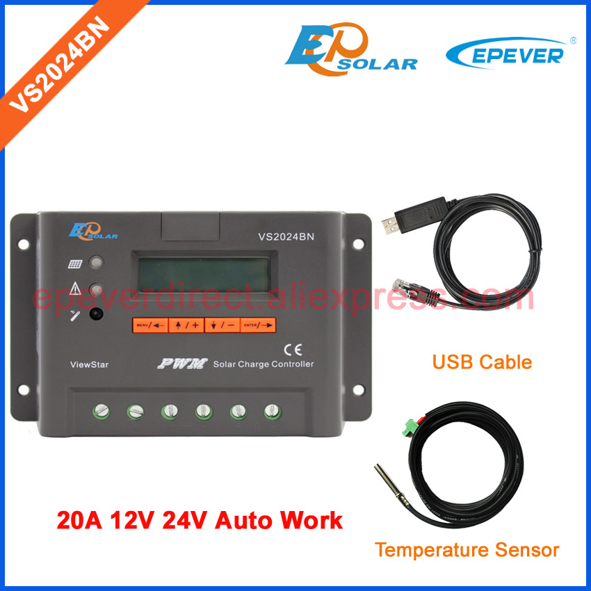 New Viewstar series VS2024BN with USB cable solar portable regulator 20A 20amp PWM controller EPSolar temperature sensor 24V 20a 12 24v solar regulator with remote meter for duo battery charging