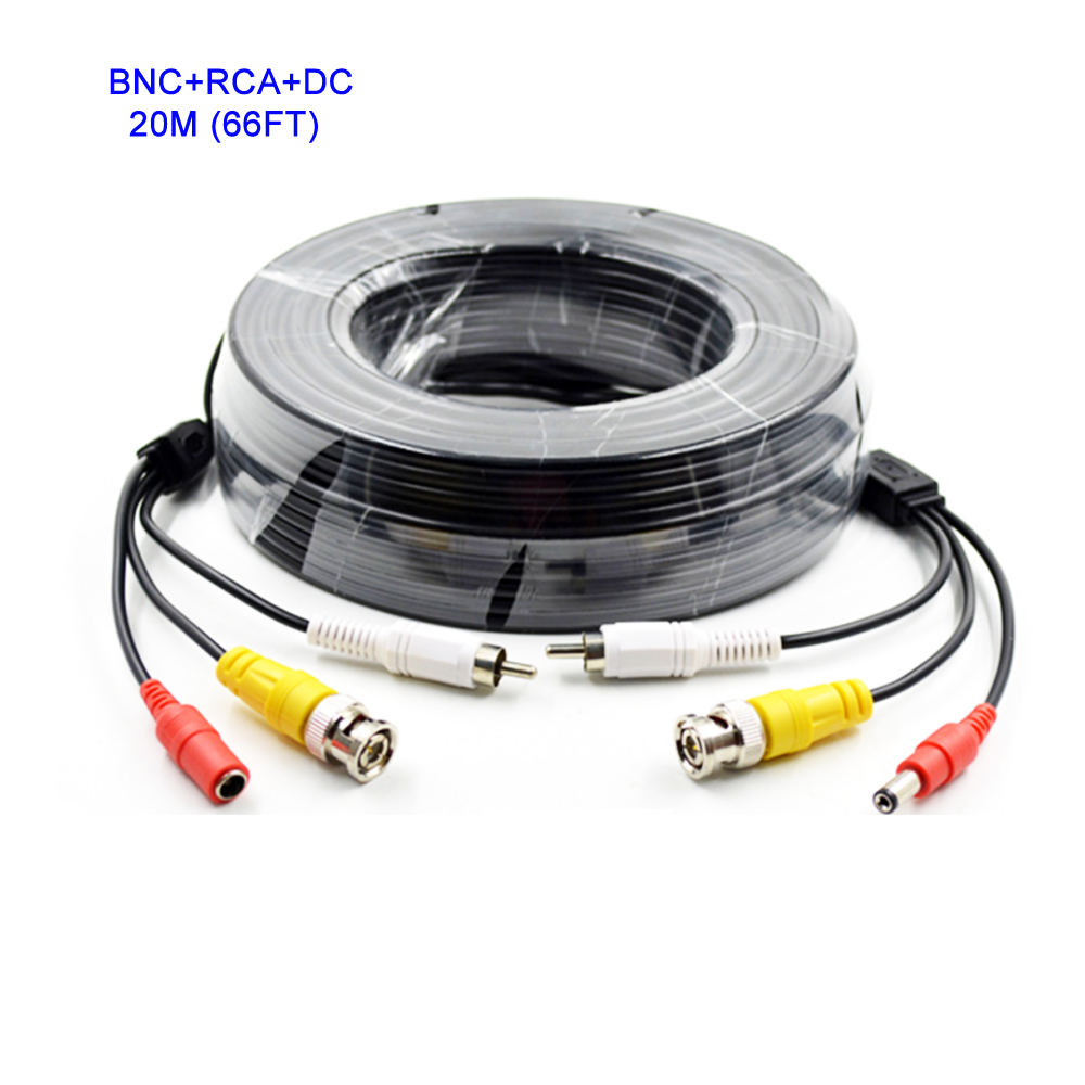 20M(66ft) Video & Power & Audio CCTV Cable BNC RCA DC Power Audio CCTV Extend Cables for Security Analog Cameras,AHD Cameras