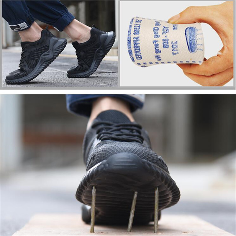 2019 New Summer Breathable Light Steel Toe Work Safety Shoes for Men Anti-piercing Waterproof Industrial Boots Casual Sneakers image