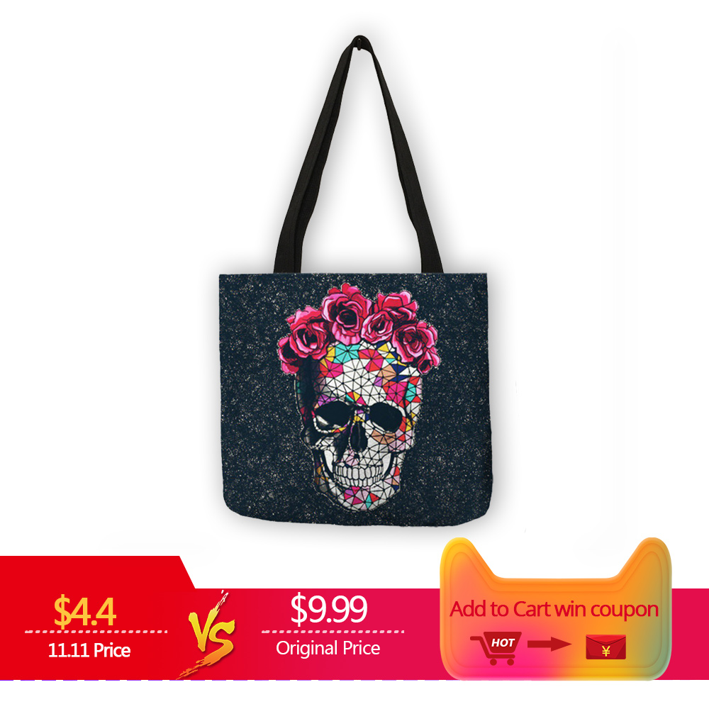 Floral Skull Print Linen Tote Bag Reusable Shopping Bags Folding Women Casual Handbags Lady Fabric Tote Bags Dropshipping unique customize tote bag eco linen bags with audrey hepburn print reusable shopping bags fashion handbag totes for women