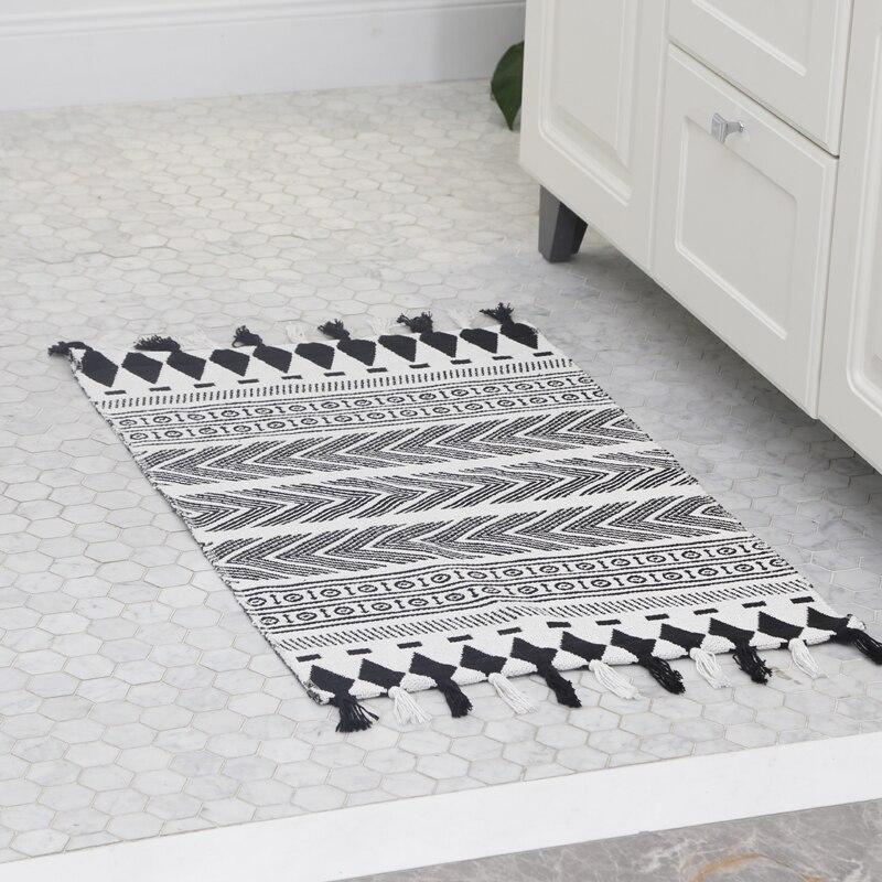 Coton doux gland Vintage Style persan tissé tapis salle de bain salon tapis géométrique fait à la main indien tapis rayé tapis
