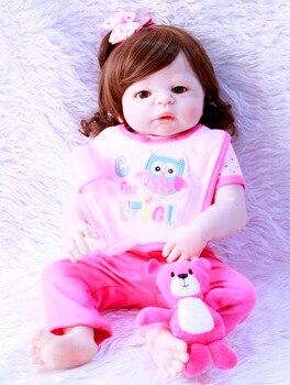 57cm Full Body Vinyl Silicone Reborn Toddler fashion lifelike collectible vinyl menina newborn cute doll kids birthday gifts