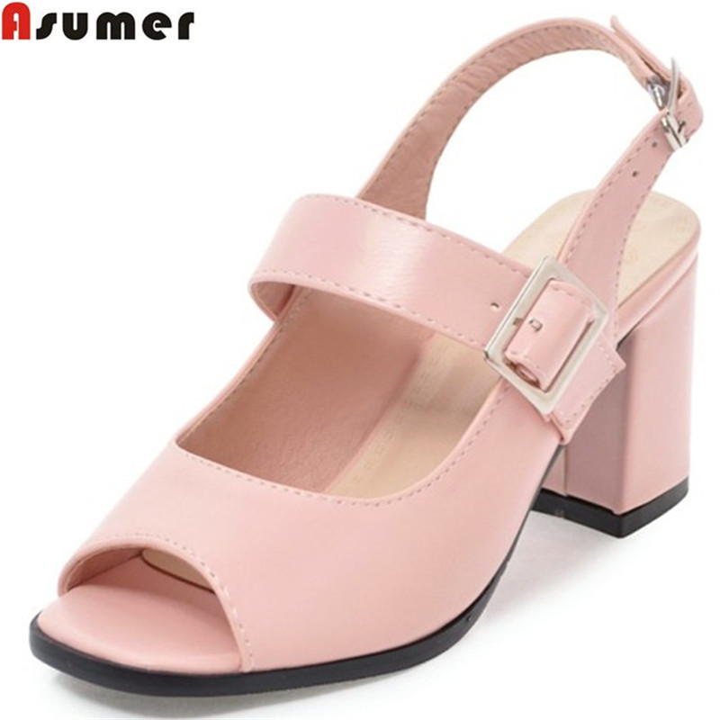 ASUMER plus size 34-46 fashion summer ladies shoes peep toe buckle square heel elegant high heels sandals shoes woman high heel sandals women high heels slippers peep toe pumps summer shoes woman sandals plus size 34 40 41 42 43 44 45 46 47 48
