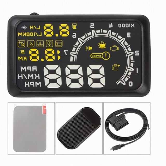 5.5 inch Car HUD Head Up Display OBD2 II Overspeed Warning System Projector Auto Temperature Speed Alarm