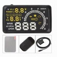 5.5 polegada carro hud cabeça up display obd2 ii sistema de aviso excesso velocidade do projetor alarme velocidade temperatura automática