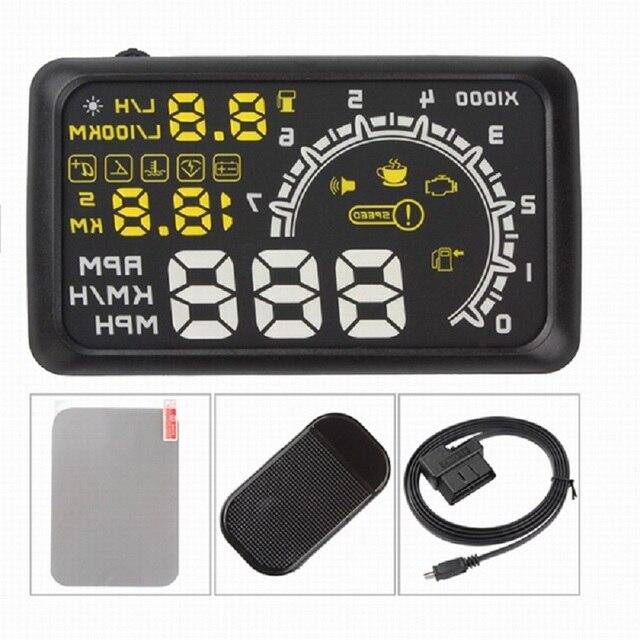 5.5 pollici Auto HUD Head Up Display OBD2 II Sistema di Allarme di Velocità Eccessiva Proiettore Auto di Temperatura di Allarme di Velocità