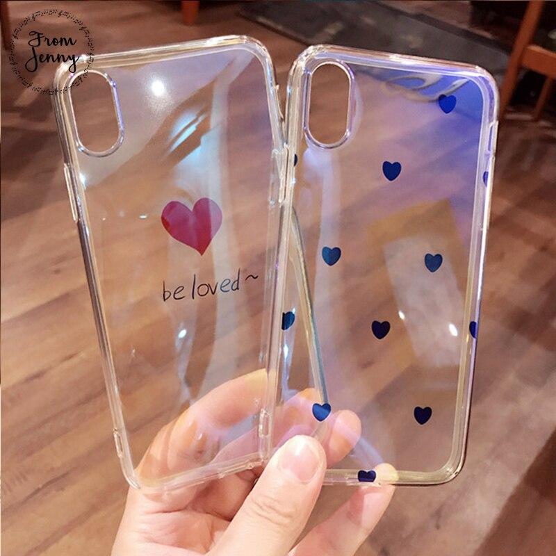 De Jenny être Aimé Coeur transpare Cas de Téléphone Pour iphone X 7 7 plus 6/6 S Plus 8 8 plus 2018 De Mode Couverture Arrière molle Mignon Cas