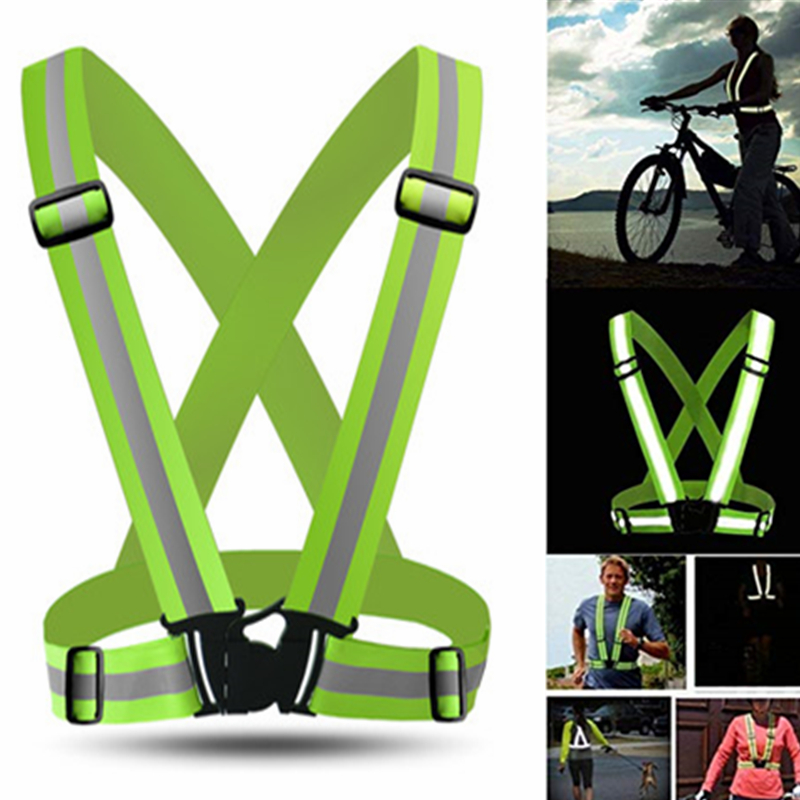 High Visibility Reflective Vest Adjustable Elastic Strap Fluorescence Work Clothes Unisex Outdoor Night Running Safety Vest