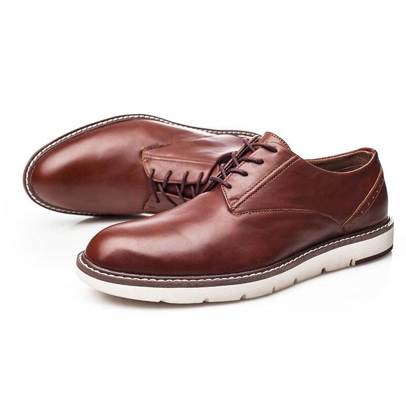 Mens Do Sapatos Respirável 63 Casuais Brown up Pantshoes Vintage Mão Feitos Eg À Confortável Dk Outono Couro Lace Mocassins Primavera Genuíno De qwSpzBxZ