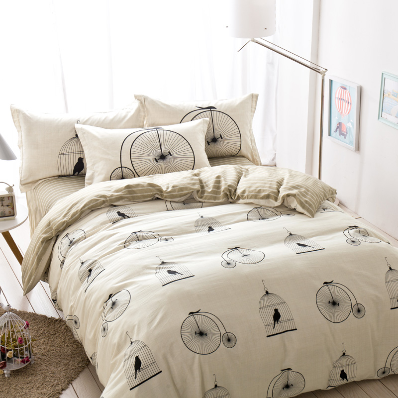 birdcage striped leaves bedding sets queen size cheap pure cotton duvet cover bed sheets men modern - Cheap Queen Size Mattress