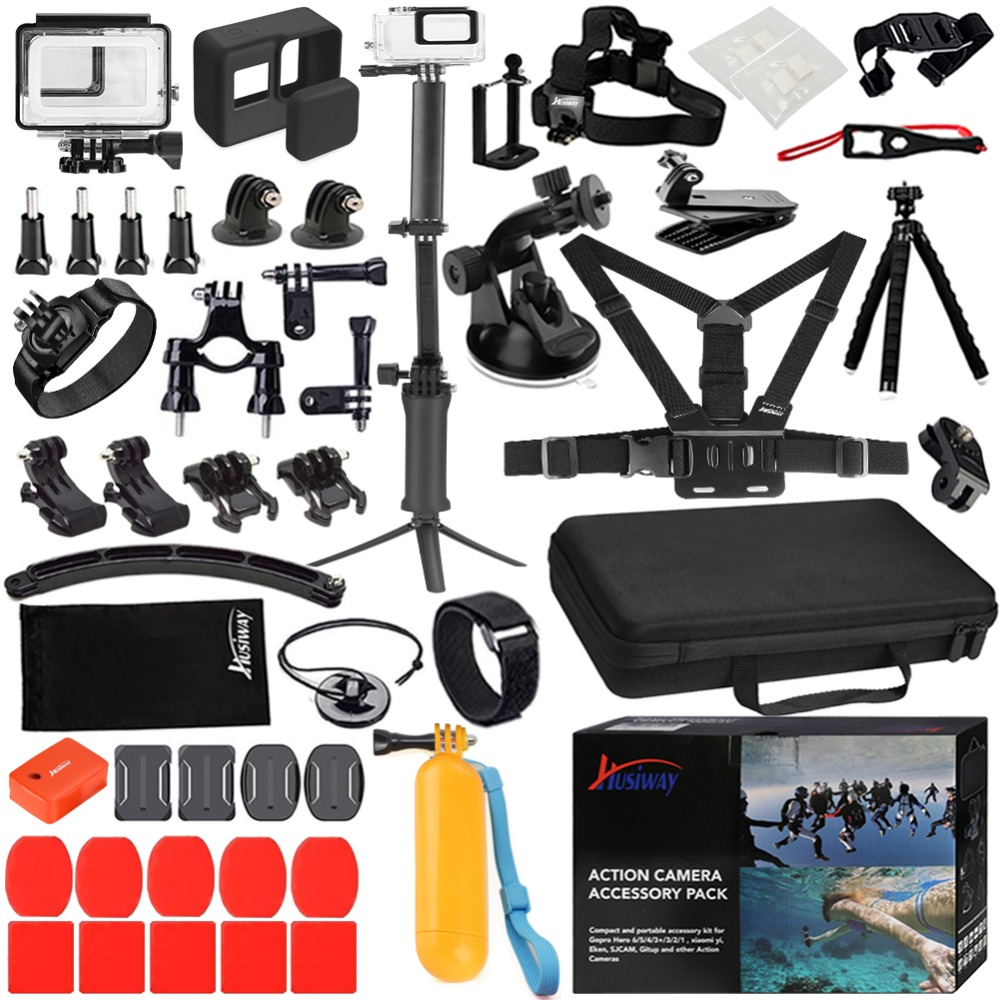 Husiway Accessories Set for Gopro hero 7 6 5 Black Waterproof Housing Silicone Case Screen Lens
