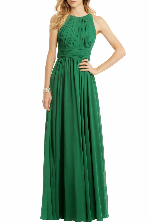 2019 robes de demoiselle d'honneur en mousseline de soie longue sans manches une ligne plis en mousseline de soie pays formel vert robes de mariée robe bateau rapide