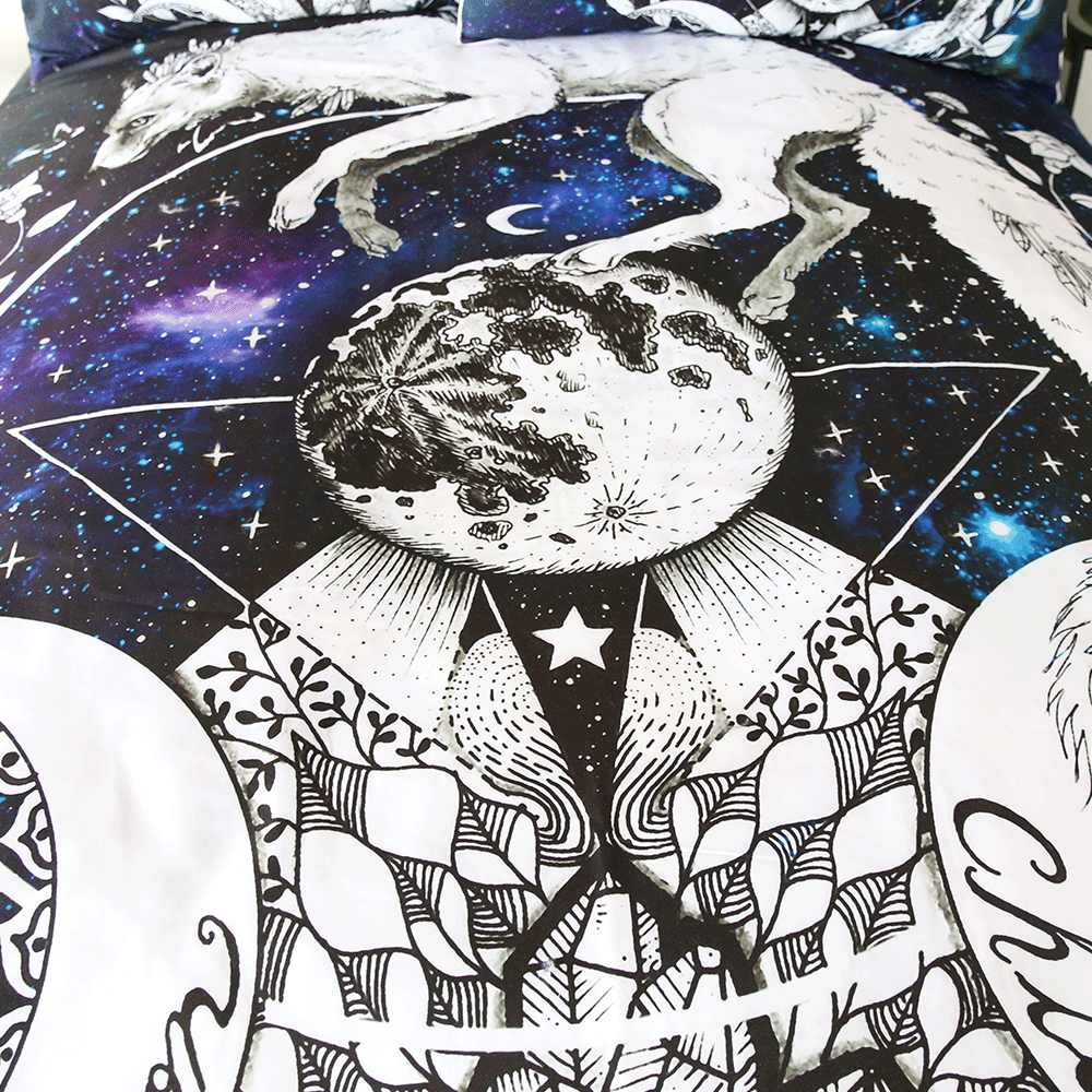 Loup galaxie par Pixie Art froid parure de lit lune enfant housse de couette galaxie bleu violet literie renard Animal planète Textiles de maison