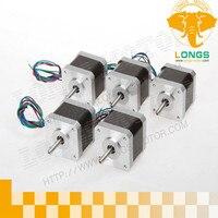 HOT SALES 5PCS Nema17 Stepper Motor,2Phase, 68oz, dc motor 12v for 3D mini motor 4wires CNC longs motor