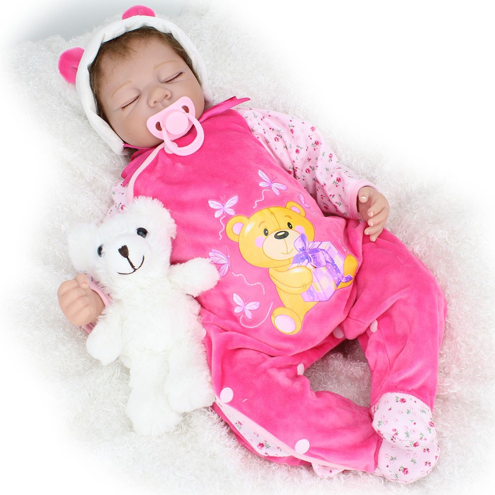 22inch Silicone New Reborn Baby Dolls Realistic Sleeping Girl Women Collect Fake Babies Kits Toys