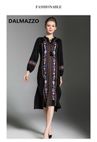 DALMAZZO 2017 Newest Ethnic Style Embroidery High Quality Runway Long Sleeve Bohemia Dress Women Long Dresses