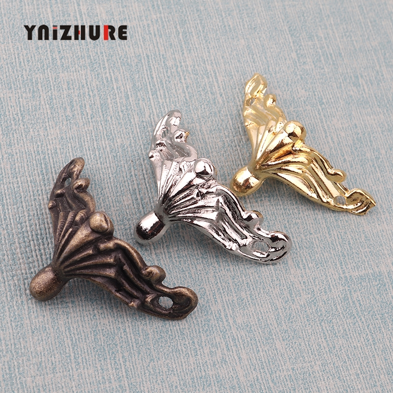 4pcs Vintage 3 Color Jewelry Chest Gift Box Wooden Case Decorative Feet Leg Metal Corner Protector Support Bracket With Screws