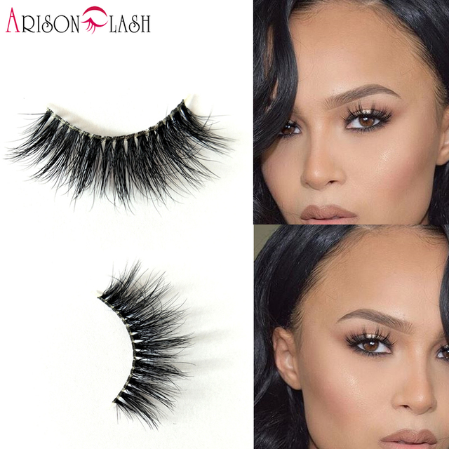 NEW Arison Eyelashes Mink Hair Transparent Plastic 1 Pair 3D Luxurious Thick & Full Strip False Eyelashes Natural For Make Up