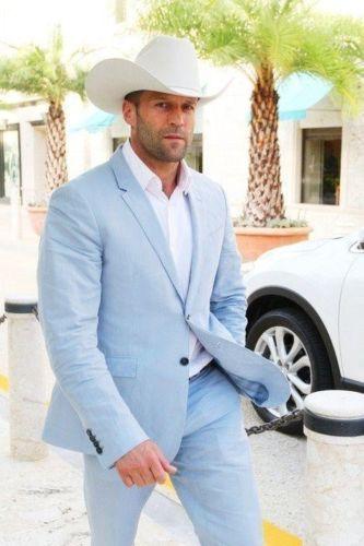 2016 Cow Boy SexeMara Miami Cielo Azul Trajes de Boda para Hombres Chaqueta  de Verano c1c0dbfaf82