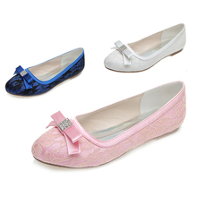 Elegant lace bow rhinestone flats slip on shoes pink white something blue sweet bridalmaids beach wedding shoes mother shoes