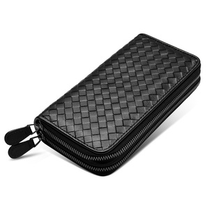 Image 2 - Luxury Soft Bag High Quality Genuine Leather Men Wallets Double Zipper Handbags Long Purse For Men  Passport Cover Card Holder