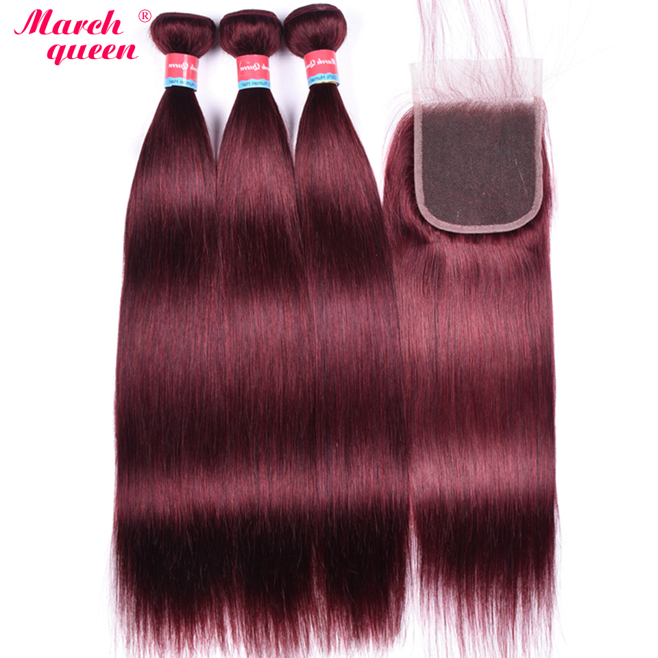 March Queen Mongolian Straight Hair Bundles With Closure 99J Red Wine Color Human Hair Weave 3