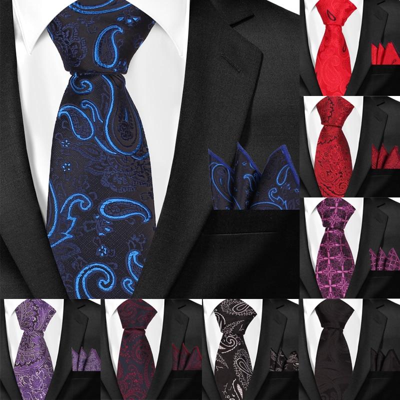 New Men Ties Paisley Classic Neckties and Hanky Set For Men Formal Floral Skinny Tie For Wedding Party Jacquard Groom Neck Ties