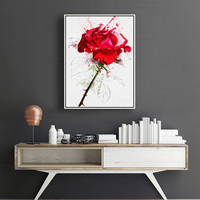 Modern Square Full Diamond Canvas Painting Flower And An Red Rose Picture Painting Of Canvas Wall