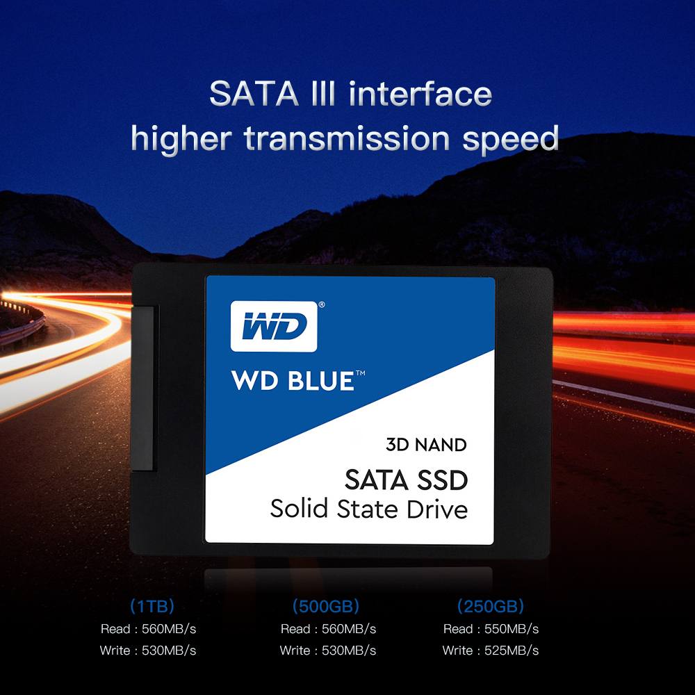 Western Digital Blue 250GB/<font><b>500GB</b></font>/1TB <font><b>WD</b></font> 3D NAND Internal Solid State <font><b>SSD</b></font> Hard Drive SATA 3.0 6GB/s 2.5 '' For PC Computer image