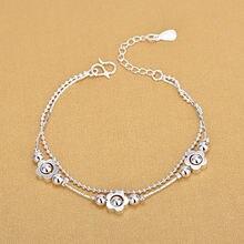 Женский двухслойный браслет из серебра 925 пробы