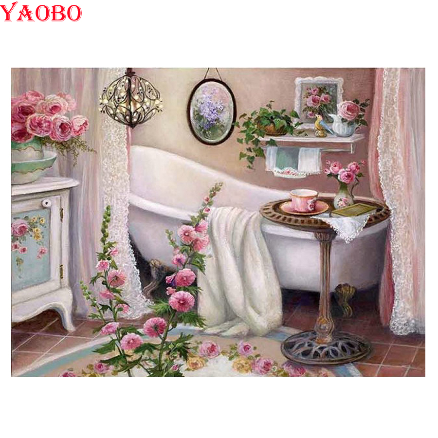 2019 New Arrival DIY Diamond Painting Bathtub Pattern 5D Full Square Diamond Embroidery Diamond Mosaic Bathroom Decoration