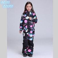 Gsou снег детский цельный лыжный костюм Обувь для девочек Дети ветрозащитный Водонепроницаемый сноуборд Открытый Спортивная одежда супер те